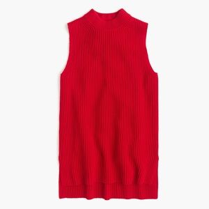J Crew Sleeveless tunic sweater Dark Poppy XS